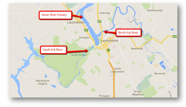 Map showing how both the entry of the South Esk River and the North Esk River join the Tamar River Estuary almost at the same point.