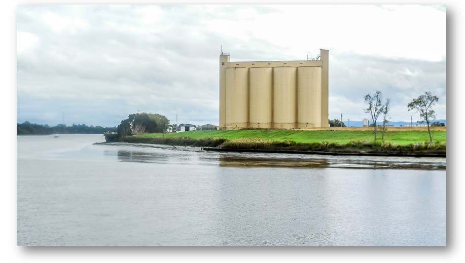 Looking across the North Esk river to the old silos on the other side
