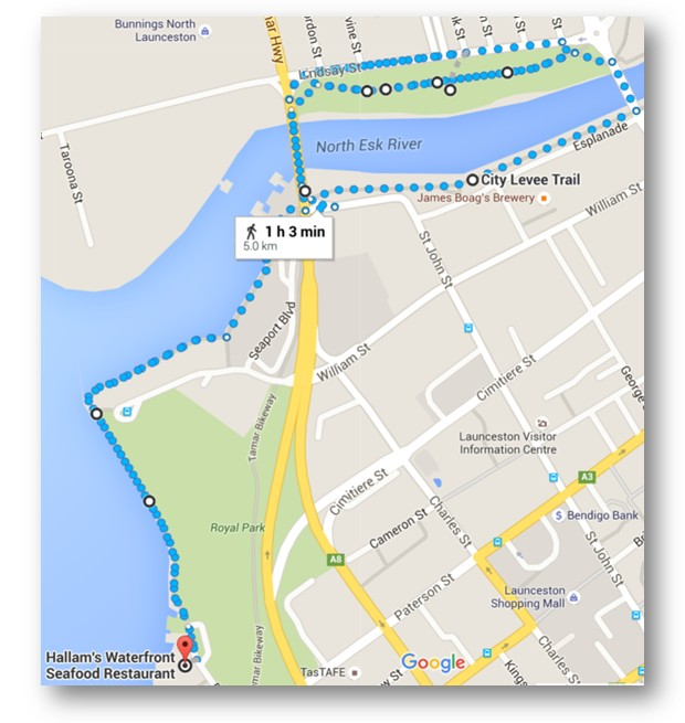 Map showing how we joined two short walks together to make an hour long walk